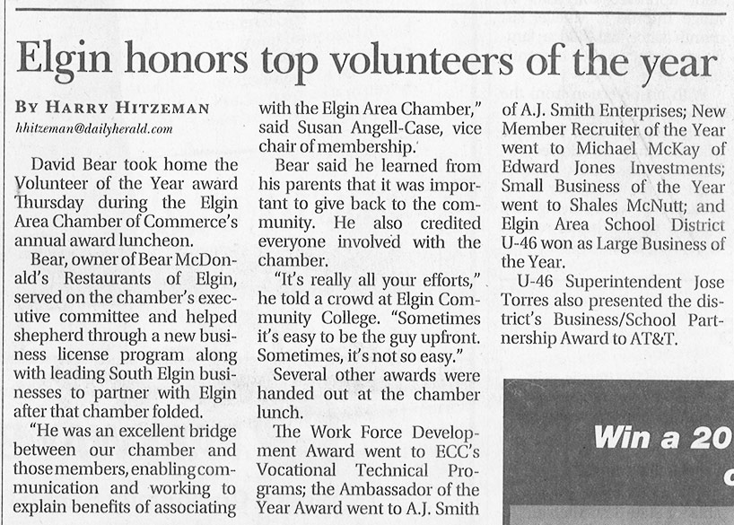 Elgin Honors Top Volunteers of the Year