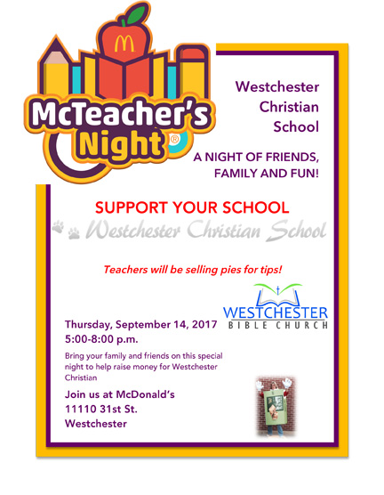Upcoming Westchester Christian School McTeachers Night Bear - Westchester zip code