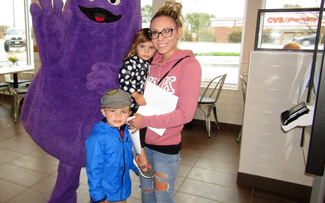 Grimace Visits The South Elgin McDonald's on McLean Blvd.