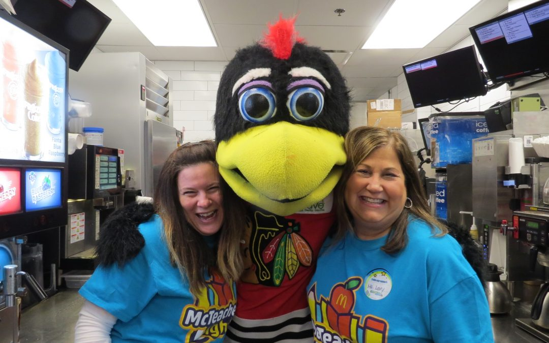 Blackhawks Tommy Hawk Helps Indian Grove Elementary School Celebrate McTeacher's Night