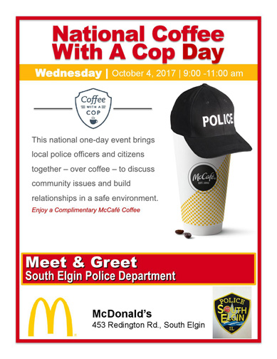 Upcoming Coffee With A Cop in South Elgin 10/4/2017