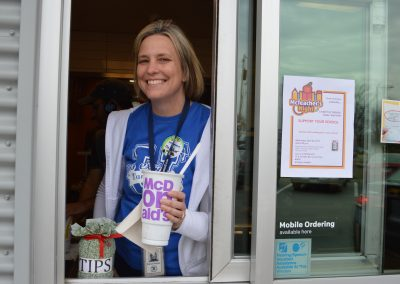 Diana Hellyer works hard at the Drive-Thru for Tarkington PTO.